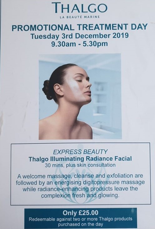 One Day Only 3 December 2019! For only £25.00 and only 8 facials available. Book Now
